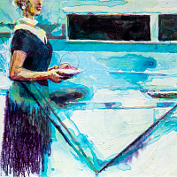 Kitchen Dweller', from the series 'Diaries', aquarelle & acrylic painting on paper, 21x15cm.
