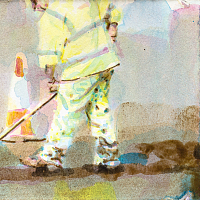 'Equally Aboard', from the series 'Diaries', aquarelle & acrylic painting on paper, 21x15cm.