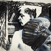 'The Flat Voice After', from the series 'Diaries', charcoal on paper, 21x15cm.