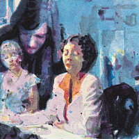 'Silence', from the series 'Diaries', aquarelle & acrylic painting on paper, 21x15cm.