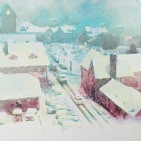 Hidden Days, acrylic on paper