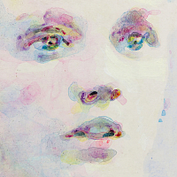 'Ethereal Tenacity', 15x21cm, fluid acrylic paint on prepared synthetic fabric.